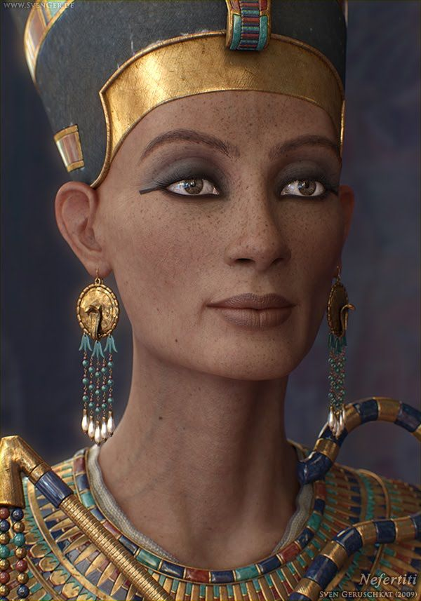 Nefertiti ~ Neferneferuaten Nefertiti (ca. 1370–ca.1330 BC) was the Great Royal Wife (chief consort) of Akhenaten, an Egyptian Pharaoh. Nefertiti and her husband were known for a religious revolution, in which they worshiped one god only, Aten, or the sun disc. Akhenaten and Nefertiti were responsible for the creation of a whole new religion which changed the ways of religion within Egypt. With her husband, she reigned at the wealthiest period of Ancient Egypt.