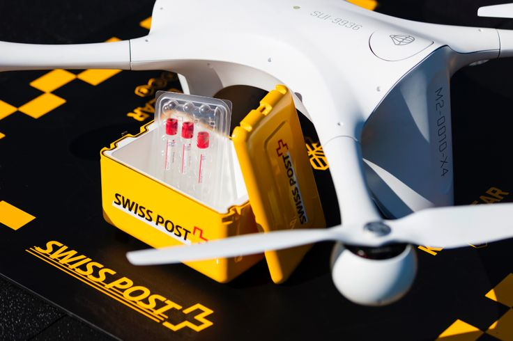 The first such use in an urban area. Swiss Post hospital lab tests delivery drone.