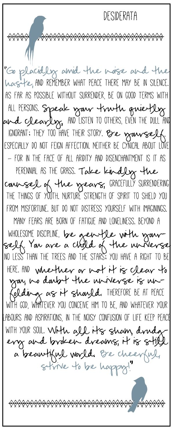 desiderata -- always the best