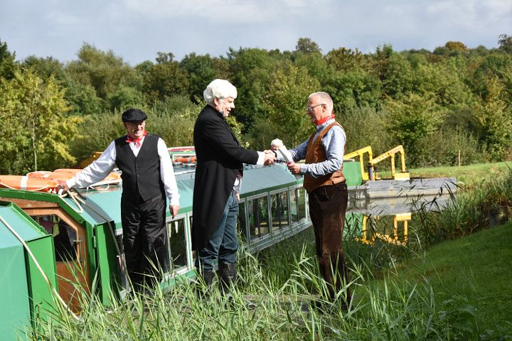 Baton handover at Drungewick. Wey & Arun Canal - Bicentenary Celebrations - Saturday October 1, 2016