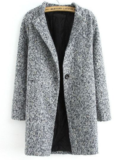 Coat Grey Long Tweed Button Fall Winter Warm Fashionable Jacket. A perfect trendy winter coat. Fall coat that goes well with any outfit. Classy and edgy this ja