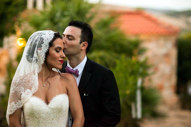 Destination wedding in Greece. The bride wore the most beautiful lace veil ever! #bridal #bridalhair #bridalmakeup by Antigoni Livieratou. Photo by Aegina photographer