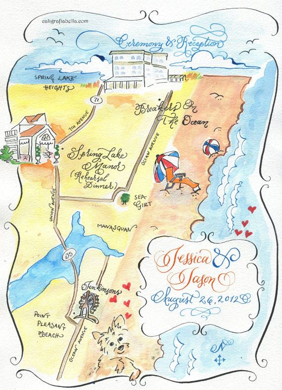 Watercolor map for wedding