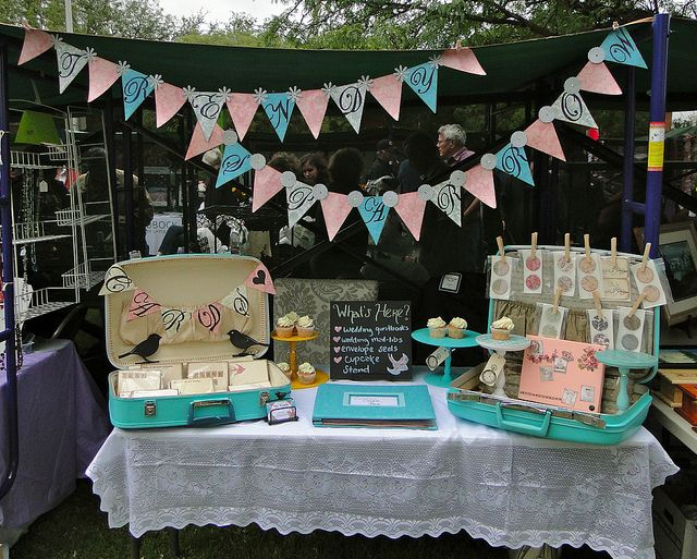 vintage and pastel inspired craft fair display
