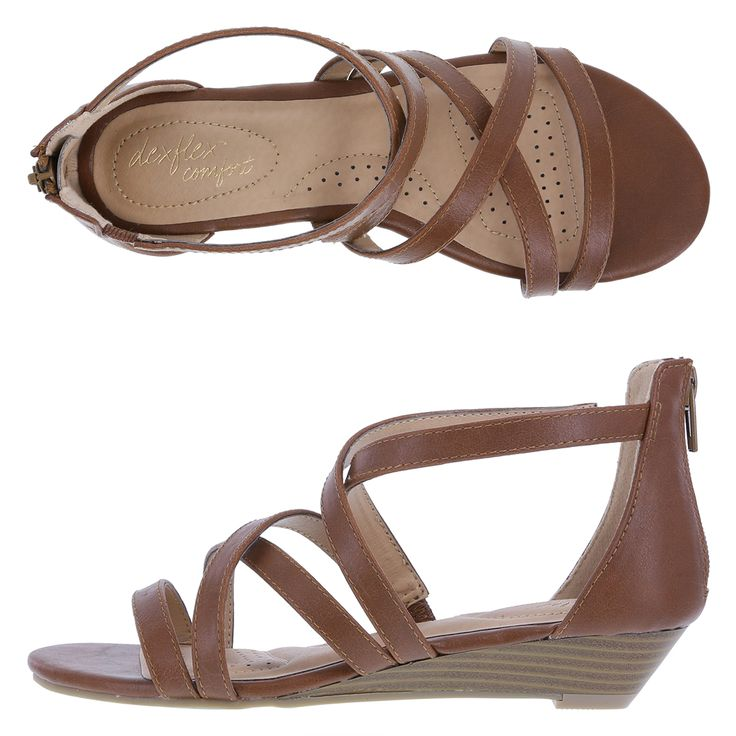 """Payless Dexflex-Comfort Women's Valerie Low Wedge $35 : Versatile and comfortable, the Valerie Wedge sandal features a strappy, tumbled upper, ankle zip, low 1"""" heel, and a rubber outsole. The soft footbed boasts a two layer insole. Memory foam, like pillows provided in five-star hotels, absorbs shock, shapes and holds perfectly to cradle the foot for lasting comfort."""
