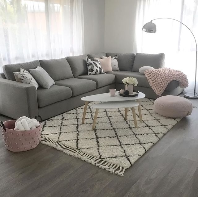Cosy Living Room Grey Vinyl Floor