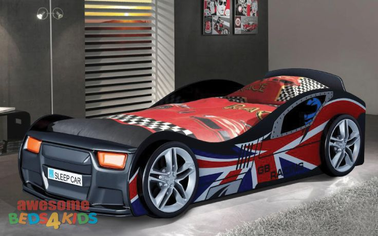 Gb Racing Car. Remote Sound and LED headlights. #carbed #beds4kids #awesomebeds4kids #kidsbeds