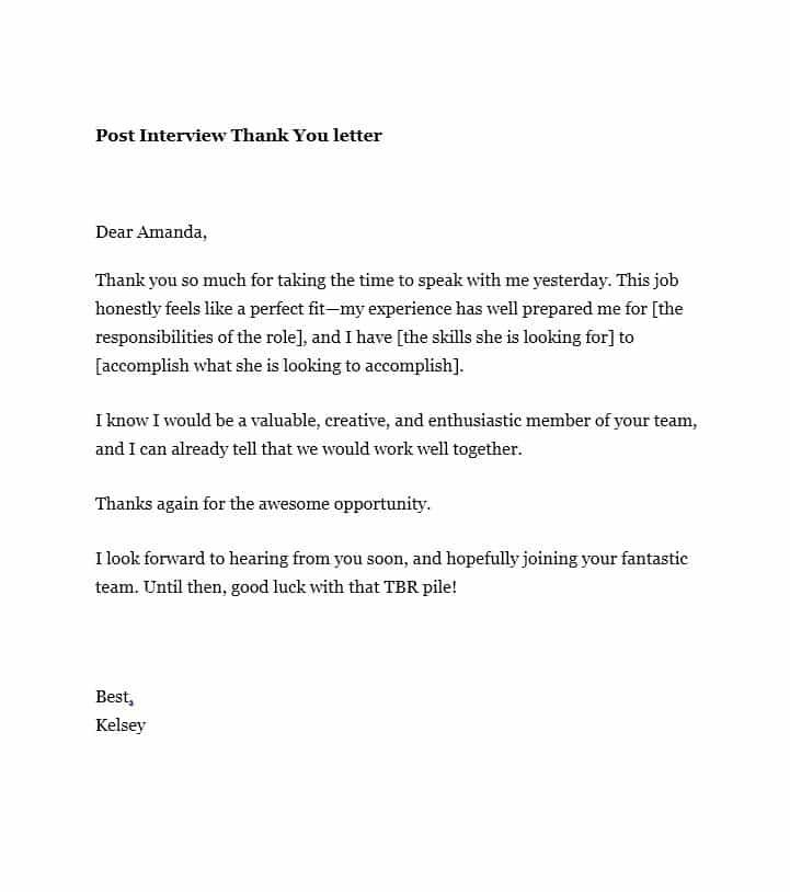 Valid Sample Thank You Letter After Interview Via Email Free In