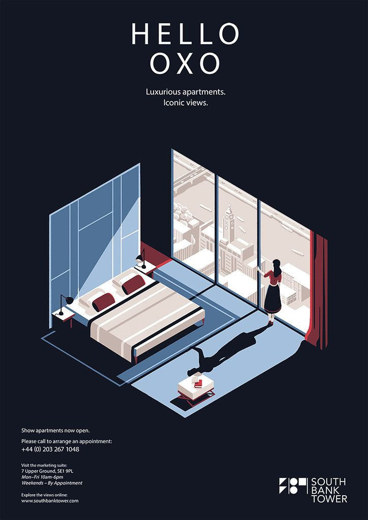 Tom Haugomat's cinematic posters for luxury apartments in a Southbank high-rise