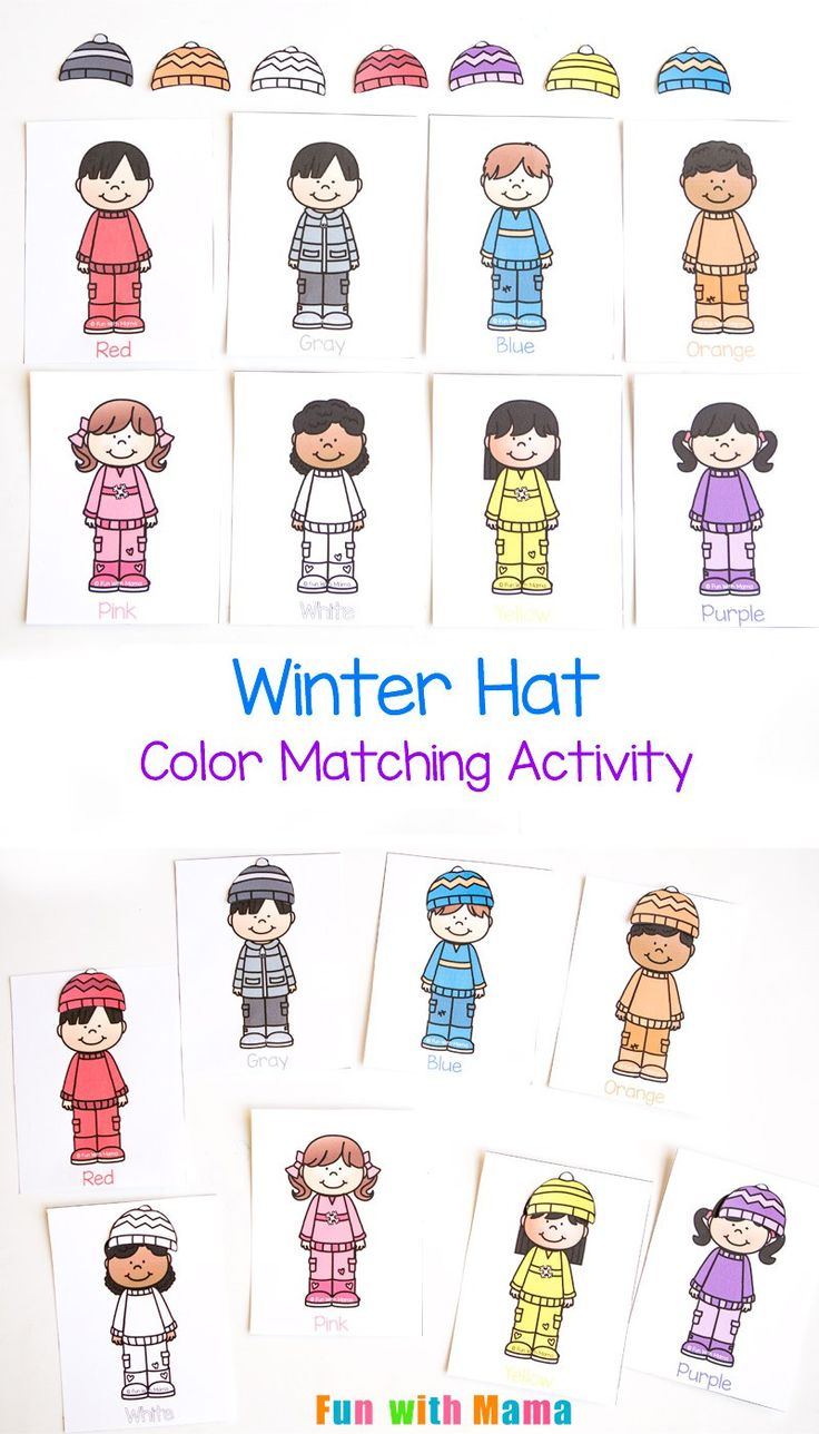 Printable color matching games for preschoolers - This Adorable Winter Printable Color Matching Hat Activity Is Perfect For Working On Colors With Toddlers