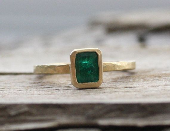 18K Emerald Bezel Stacking Ring  May Birthstone by Studio1040, $1820.00