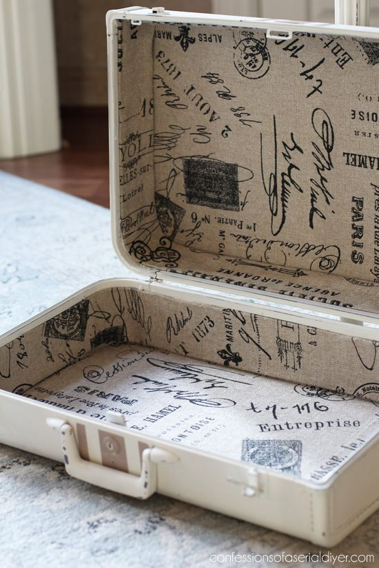 Curbside suitcase makeover from Confessions of a Serial Do-it-Yourselfer. This is a great way to add extra storage that's decorative too!