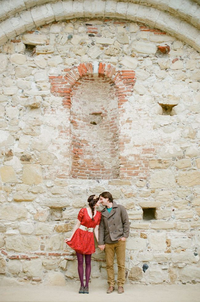 Wes + Olivia : engagement, red dress,old world engagement,this modern romance