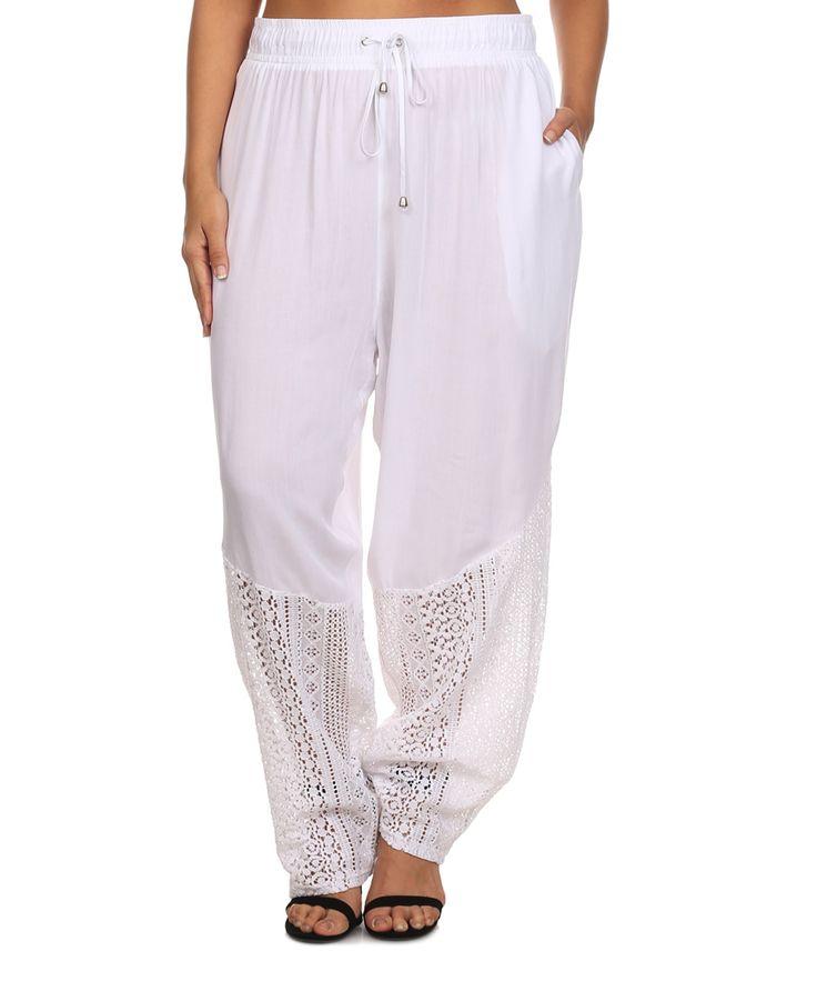 White Crochet-Accent Harem Pants - Plus