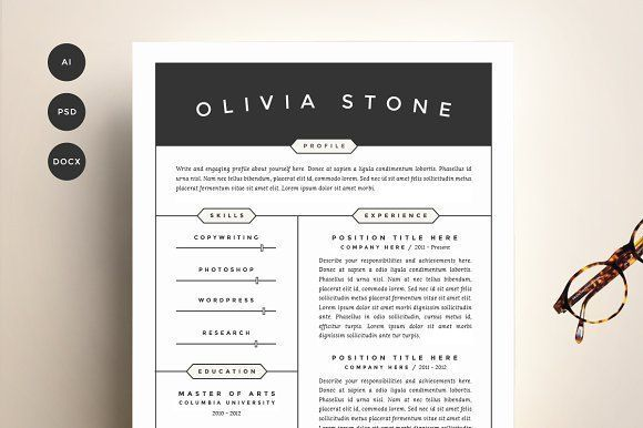 Resume Template 4 Pack | CV Template by Refinery Resume Co. on @creativemarket Professional printable resume / cv cover letter template examples creative design and great covers, perfect in modern and stylish corporate business design. Modern, simple, clean, minimal and feminine style. Ready to print us letter and a4 layout inspiration to grab some ideas. In psd, indd, docs, ms word file format.