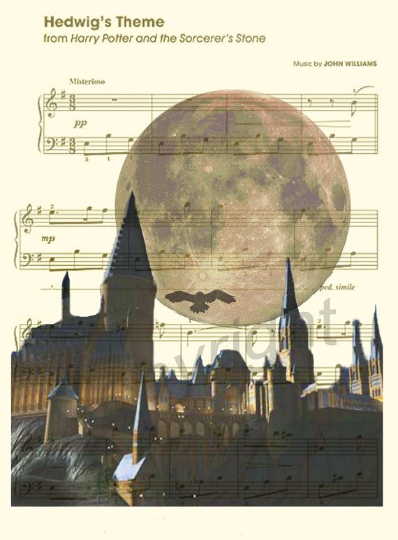Here is a music sheet art print of Hogwarts from Harry Potter.