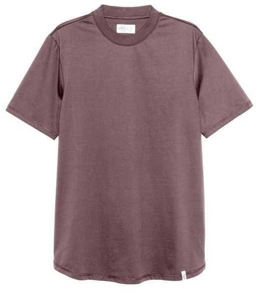 H&M - T-shirt with Ribbing - Dark brown - Men