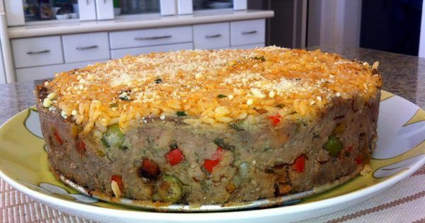 Torta De Carne Moida Recheada Com Arroz De Forno Simples Assim
