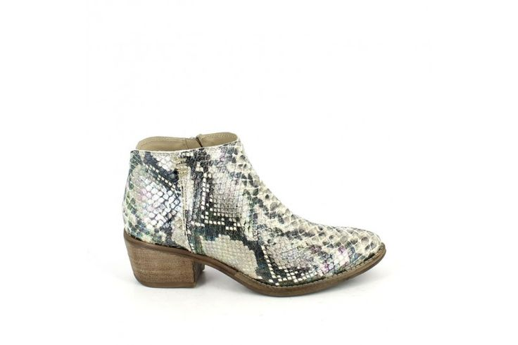 Slim 15753 Chic Roccia - Urban mix ankle boot, genuine leather snake effect, rubber sole, heel 3 cm and zip. Dynamic metropolitan.