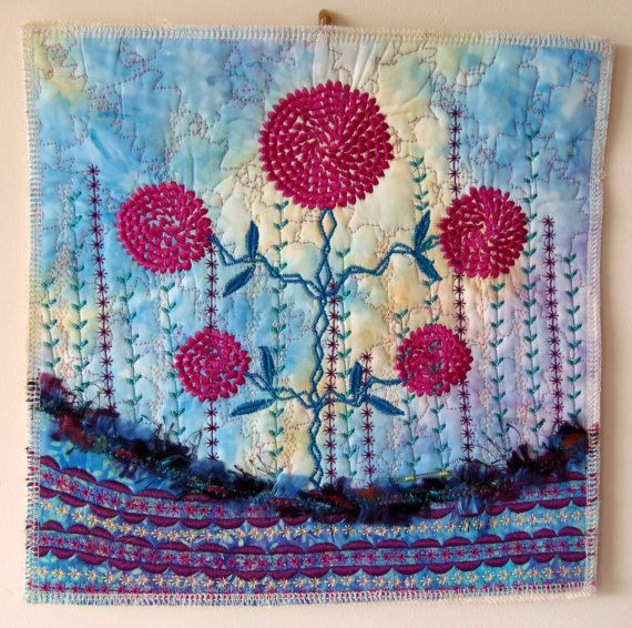 Dahlia Wall Hanging Quilted Wall Hanging Fiber by ClockworkRummage, $35.00