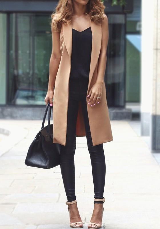 Khaki Pockets Sashes Side Slit Turndown Collar Office Worker Cardigan Vest Coat