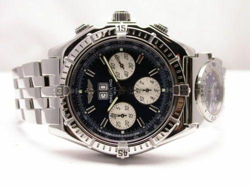Breitling Crosswind Chronograph Steel Mens Watch A44355 Blue Dial UTC Bracelet | eBay