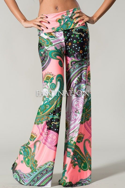 Sexy Fold Over Wide Leg Tall Yoga Palazzo Hot Pink Paisley Purple Pants S M L #Yetts