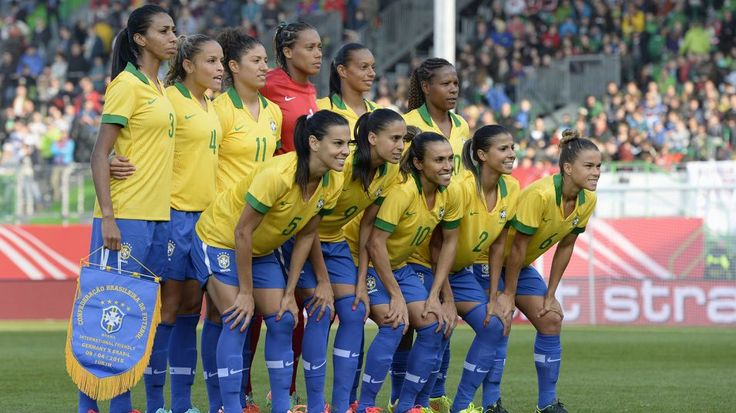 The Brazilian national women football team, first row L-R: Brazilian midfielder Thaisa, Brazilian midfielder Andressa Alves, Brazilian midfielder Marta, Brazilian defender Fabiana  and Brazilian defender Tamires, Second row L-R: Brazilian defender Bruna Benites, Brazilian defender Monica, Brazilian striker Cristiane, Brazilian goalkeeper Barbara, Brazilian midfielder Rosana and Brazilian midfielder Formiga, pictured ahead the friendly women soccer match between Germany and Brazil in the…