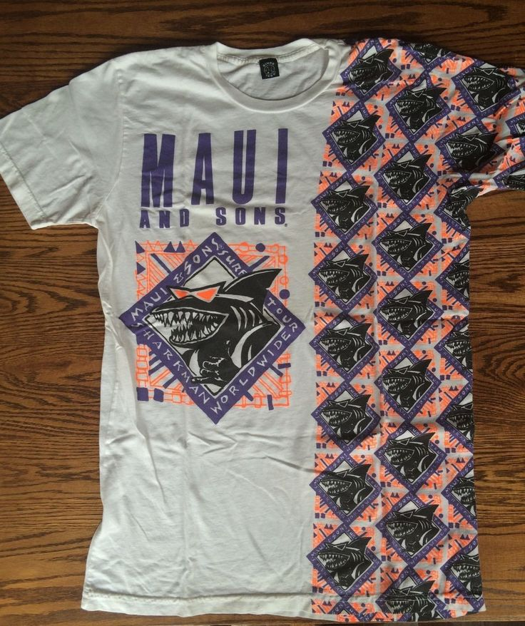 Vintage 80 39 s 90 39 s maui and sons neon print t shirt for T shirt printing maui