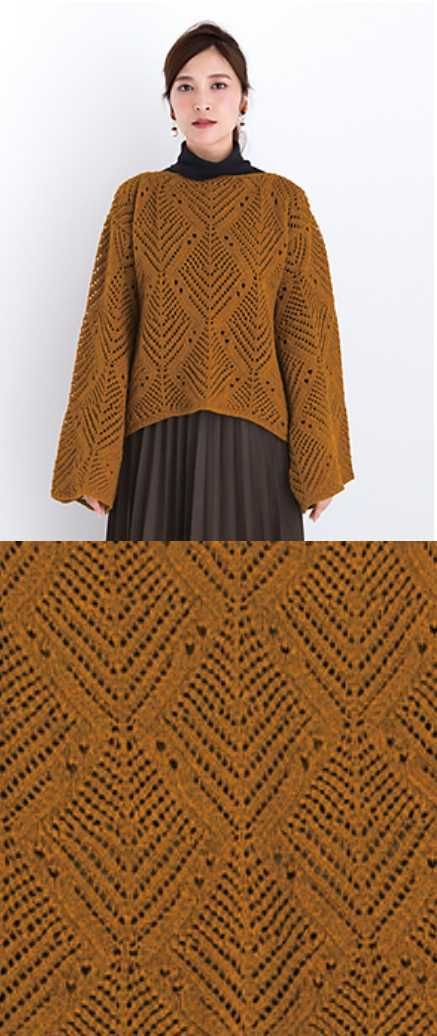 Free knitting pattern for a ladies sweater. Lace sweater with all over large lace fern pattern.