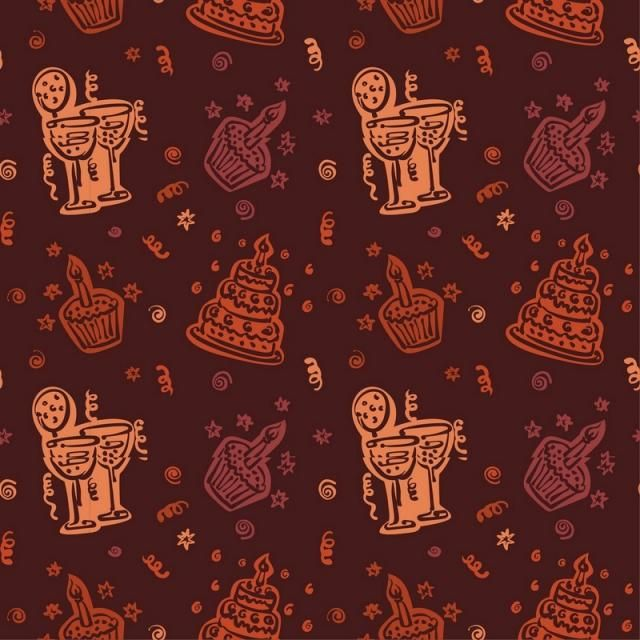 Happy Birthday Pattern Background With Brown Color Pattern Brown