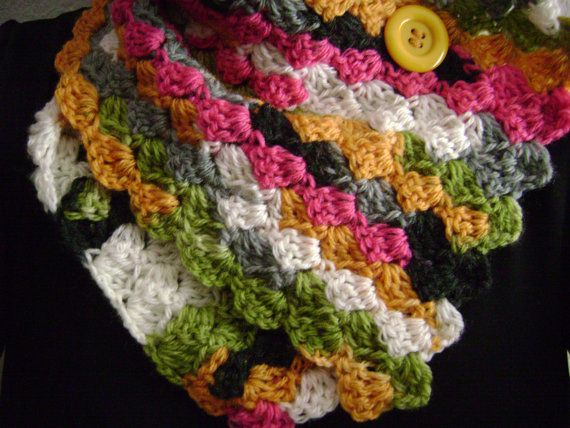 Multicolored crochet button scarf.