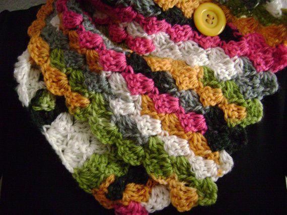 Multicolored crochet button scarf.