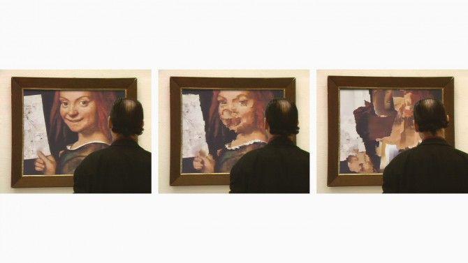 Zerseher, 1992, von Joachim Sauer und Dirk Lüsebrink, interaktive Kunst, bei der mittels eines Eye-Trackers der Blick das abgebildete Ölgemälde zersieht