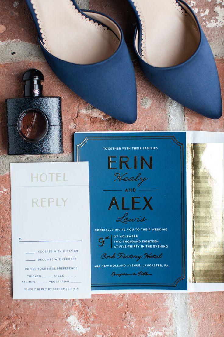 Erin Alex Tie The Knot At Cork Factory Hotel Pennsylvania Weddings In 2020 Pennsylvania Wedding Gold Wedding Invitations Erin