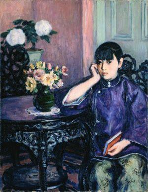 児島虎次郎「花卓の少女」(1926年、油彩、カンバス、高梁市成羽美術館蔵)