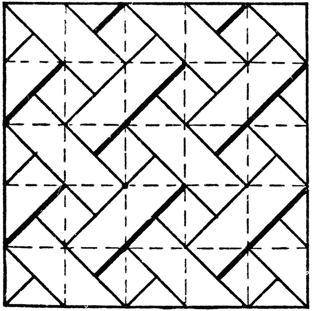 a diagonal line pattern drawing exercise in for t square and triangle the image is constructed by dividing the paper into squares with the t square