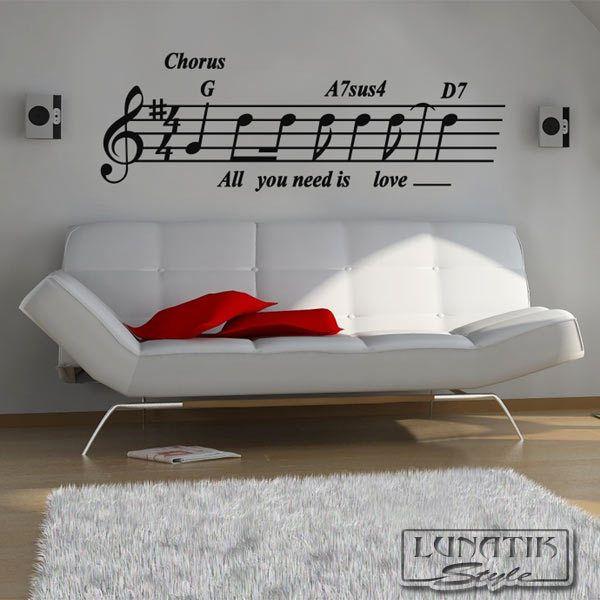 Wandtattoo Song All you need is love - WA10 von Lunatik-Style via dawanda.com