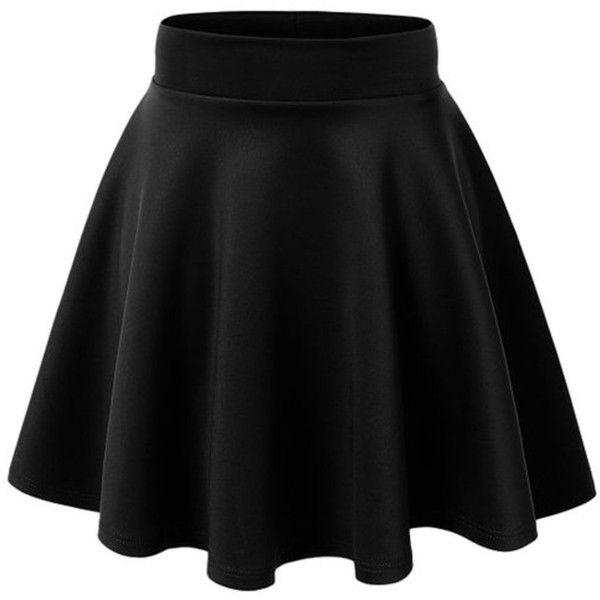 ACEVOG Women's Stretch Waist Flared Skater Skirt Dress Mini Skirt 15... (€8,21) ❤ liked on Polyvore