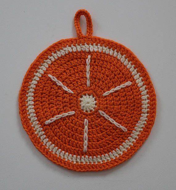 Fruit shaped crocheted pot holder