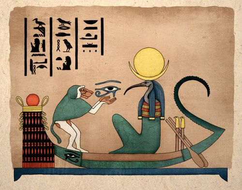 Thoth, ancient Egyptian god of knowledge, and guardian of the moon. Thoth is believed to be the original author of the Egyptian Book of the Dead, the first inventor or writing, magic, and all the Hermetic arts.In this picture Thoth is seated on his moon boat with the moon represented as the left eye of Horus being held by Thoth in the form a baboon.The boat flows with a driftnet atop the glyph for the word heavens, the stern of the boat has many notches that stand for the counting of time.