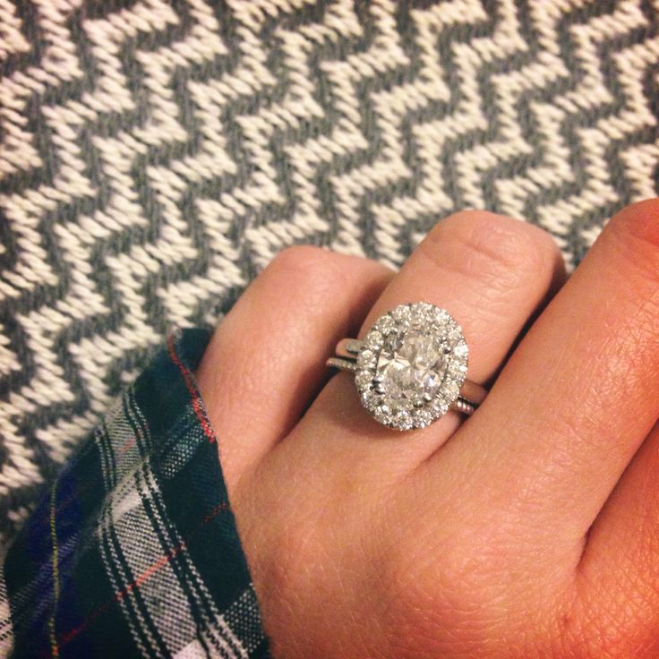 Oval Diamond Halo Engagement Ring Paired With Thin Beaded Wedding Band By Hattie