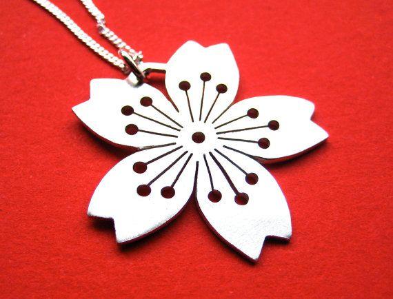 Sterling Silver Sakura Pendant No. 3 by CeebWassermann on Etsy