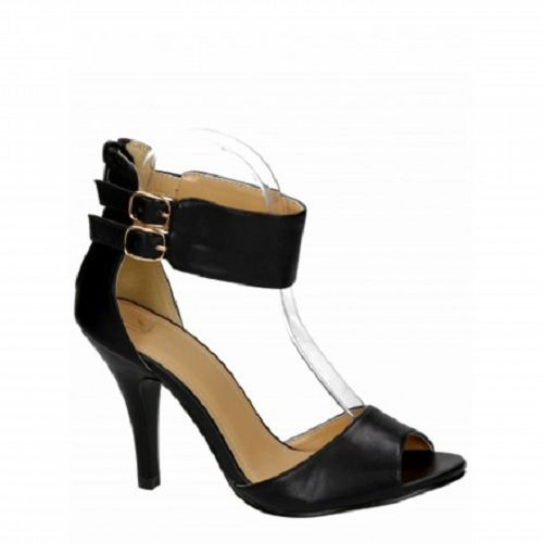 WOMENS LADIES HIGH HEEL LADIES ANKLE STRAP BLACK PARTY SANDALS SHOES SIZE 3-7.5
