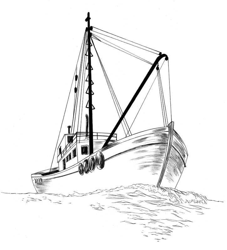 Раскраска рыболовное судно
