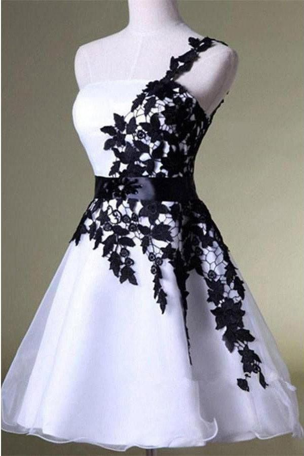 Elegant One Shoulder Black And White Short Lace Homecoming Dresses Z1162
