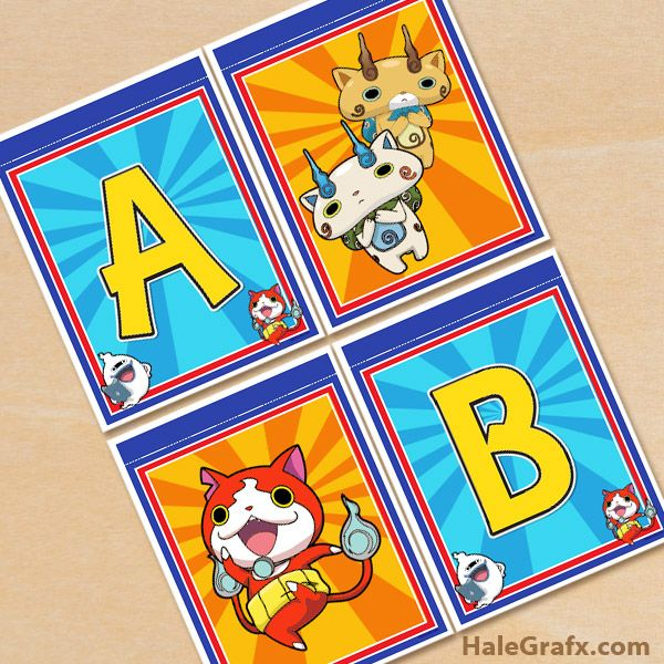 Free printable Yo-Kai watch alphabet banner pack