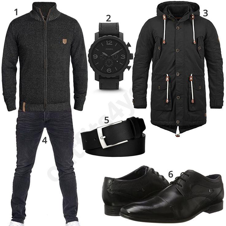 Winteroutfit für Männer mit dunkelgrauer Strickjacke (m0727) #black #schwarz #dunkelgrau #jeans #parka #outfit #style #herrenmode #männermode #fashion #menswear #herren #männer #mode #menstyle #mensfashion #menswear #inspiration #cloth #ootd #herrenoutfit #männeroutfit