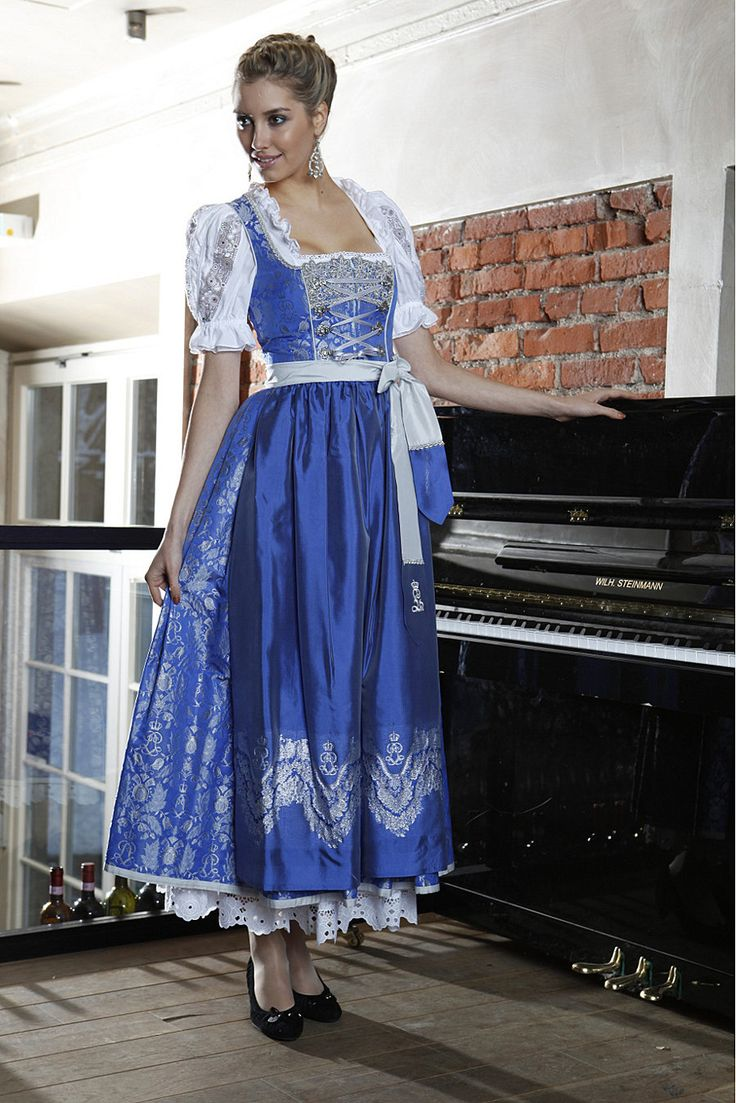 Such a captivatingly elegant royal blue, long skirted dirndl. #blue #dirndl #dress #folk #costume #German #clothing