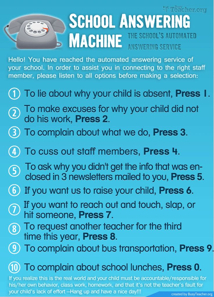 Here's 10 humorous 'School Answering Machine' messages (author unknown) that…